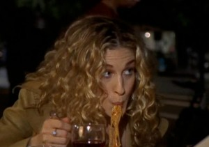 Carrie eating pasta